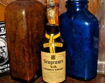 Vintage 1938 Miniature Imported Seagram's V.O. Canadian Whisky Bottle