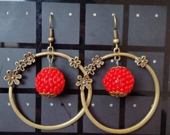 Spring Garden beaded hoop earrings