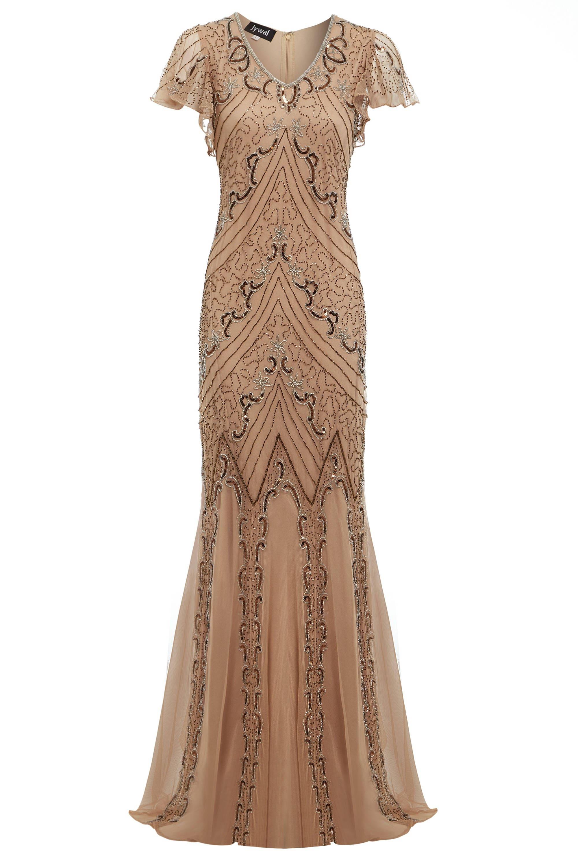Lilly Gatsby Hochzeit inspiriert Kleid Pfirsich Meerjungfrau