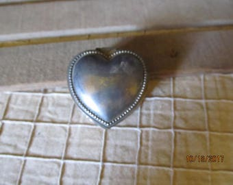 Vintage Silverplate Silver Plated Heart Shaped Red Velvet Lined Jewelry Ring Trinket Box