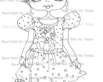 INSTANT DOWNLOAD Digi Stamps Big Eye Big Head Dolls Digi IMG931 By Sherri Baldy