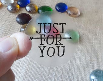 """Transparent or Silver Foil """"Just For You"""" Labels Stickers Seals #R4045"""