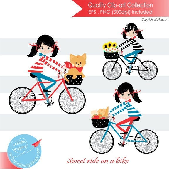 on sale sweet ride on a bike clipartvector eps png rh etsy com Road Bike Clip Art Car Clip Art