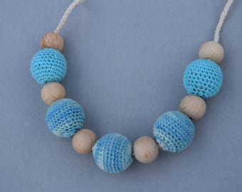 blue Crochet Nursing Necklace - Breastfeeding Necklace - Teething necklace with crochet beads - baby shower gift - boy blue