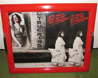 Recycled Picture Frame Record Album Cover Tray - Bette Midler, Divine Miss M, singer, Art, black white red