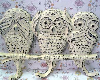 Owl Cast Iron Wall Hook Shabby Chic Hear No Evil Speak No Evil Say No Evil Off White Home Decor