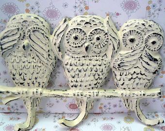 Owl Multi Wall Hook Shabby Cottage Chic Hear Speak Say No Evil Cream Off White Distressed Leash Hat Key Keys Wall Hook Rustic Woodsy Kitchen