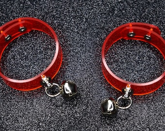 Bell Cuff Bracelet PAIR of 2, bells, wristband, bracelet, cute, Red Vinyl, pvc, cyber, fetish, bondage, cuff bracelet, wristbands, cuffs