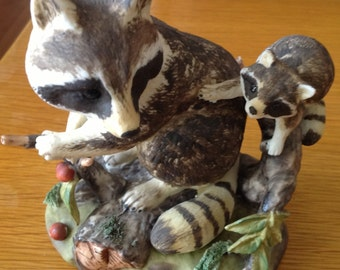 Lefton Raccoon Ornament /Decorative/Stamped Lefton China/Hand Painted
