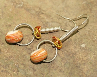 Orange and Yellow Lampwork Glass, Aluminum & Sterling Silver Earrings, Handcrafted Modern Art Glass Jewelry, Geometric Drops, Contemporary