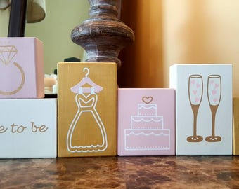 Bridal shower decoration, Bride to be, Rustic bridal shower block, Just married, Mr and Mrs, Wedding reception, Centerpiece for shower table