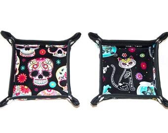 Day of the Dead Dia de los Muertos Sugar Skulls + Skeleton Cats Valet Tray Accessory Holder