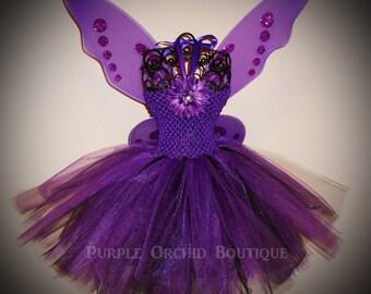 Purple Tutu Dress - Fairy Set - Includes Wings