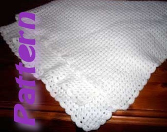 Easy crochet pattern pdf, corner to corner baby blanket, diagonal afghan, shell stitch, 3ply 4ply sport yarn Snuggle, instant download