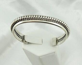Vintage Rope Design Cuff Bracelet Navajo Native American #SSROPE-CF3