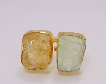 Natural Stone Ring - Yellow Citrine Ring - Gold Plated Ring - Birthstone Ring - Raw Fluorite Ring - Gemstone Ring - Adjustable Ring