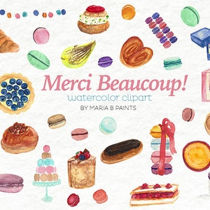 Watercolor Clip Art - Pastries - French Macarons - Sweet - Pastry - Instant Download - Personal Use - Creme Brûlée - Fruit Tart - Patisserie