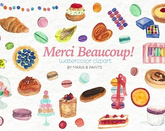 Dessert Clipart Watercolor Pastries Bakery Graphics French Pastry Cream Puff Souffle Eclair Clip Art Baking Clip-Art Watercolour Printable