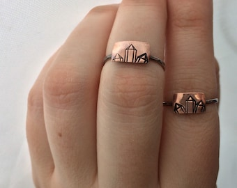 Ring size 6 1/4 Copper Crystal Cluster Sterling Silver Ring