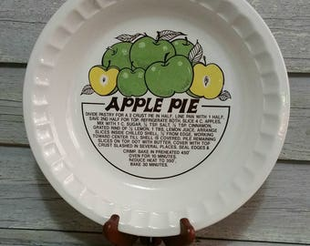 Vintage Ceramic Apple Pie Plate With Recipe, Deep Dish Pie Plate, Vintage Bakeware