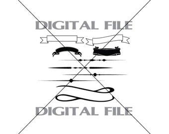 Banners And Text Dividers Vector Art Vinyl Decal T-shirt Digital Cutting Files ,Svg, Ai, Eps, Dxf