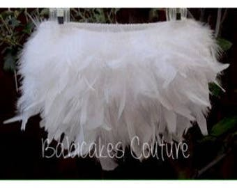 White Feather Diaper Cover & Headband Set You Pick Color Feather Tutu, Newborn Photo Outfit, White Feather Bloomer, White Feather Skirt