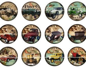 "1"" Antique Cars Flatback Buttons, Pins, Magnets 12 Ct. Set B"