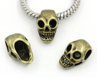 Pearl skull shape bronze metal (x 4)