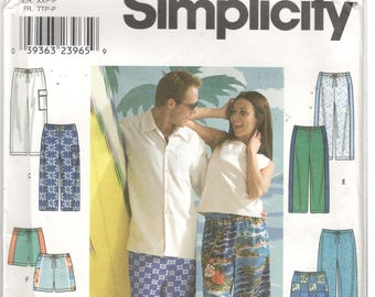 Simplicity 9204 Size XXS, XS, S Men's and Women's sewing pattern: drawstring pants or shorts with patch pockets.  Pull on shorts or pants