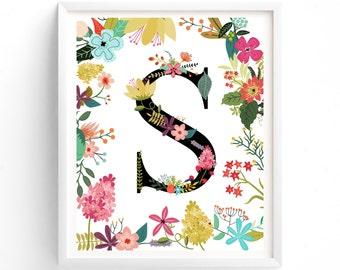 Instant Download Garden Series, Printable Letter s,  Dorm Room Monogram, Floral, Flower Lettering Art print