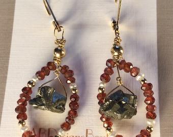 Beaded garnet and pyrite earrings