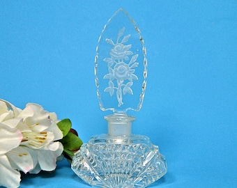Irice Art Deco Perfume Bottle Etched Rose Stopper Czechoslovakia