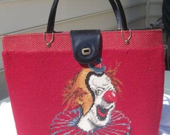 Clown cloth tapesty handbag tote hand stiched