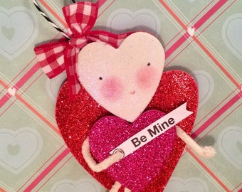 Be mine valentine ornament token of love whimsical heart girl pink and red