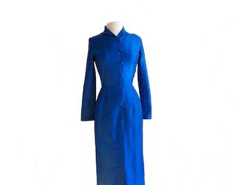 Vintage 90s royal blue silk wiggle dress/ Thai hand woven 100% pure silk/ long sleeve dress/ luscious raw silk/