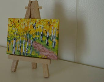 Aspen Lane, Original aceo, acrylic, canvas panel, 2 1/2 x 3 1/2, Colorado, Aspen trees, trail, Art trading card