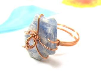 Kyanite Slab Ring, Copper Wire Wrapped Ring, Raw Blue Gemstone Ring, Kyanite Shard, October Birthstone