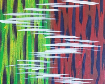 """Yellow, Green, Blue, Red and White Original Acrylic Abstract Painting on Canvas """"Series 5 LXVII"""" Wall Art, Home Decor, Wall Hanging, Modern"""