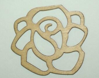 Wood Filigree Rose 2 Pendants included 50 mm