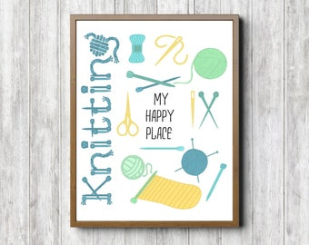 Knitting Wall Art - My Happy Place Quote Sign - Gift For Knitters - Knitting Accesories - Craft Room Wall Decor - 11 x 14 - 8 x 10 - 5 x 7