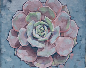 "Oil Painting Succulent, Pastel Rainbow Painting, Pink Hen and Chicks, Original Art, Botanical Art Painting - ""Dusty Pink Succulent Mandala"""