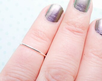 Tiny Size Ring Wispy Knuckle Ring Midi Sterling Silver Rings Thin Stacking Wire Skinny Size 2 1mm (RR6150922)