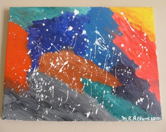 """Abstract Modern Art - Morning Rain (Abstract, Original, Acrylic Paint on Stretched Canvas - 40 cm x 30 cm / 15 3/4"""" x 11 3/4"""")"""