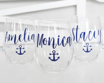 Custom skinny tumblers, bridal set, personalized cups, bridal shower gift, wedding gift, wedding favors, bridesmaids gift, Anchor cups