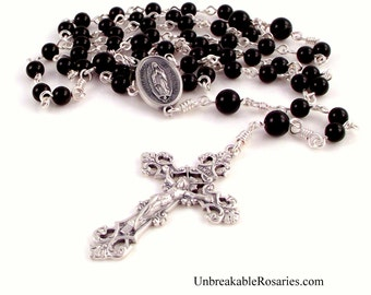 Virgin of Guadalupe Rosary Beads Black Onyx With Fleur-de-lis Italian Crucifix by Unbreakable Rosaries