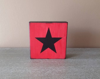 Wood Block Decor Mix and Match - Black Star