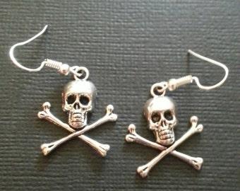 Silver Skull and Crossbone Earrings