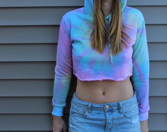 Tie Dye Women's Loose Cropped Long Sleeve Drawstring Hoodie Sweatshirt - Hippie - Sizes Small-Large