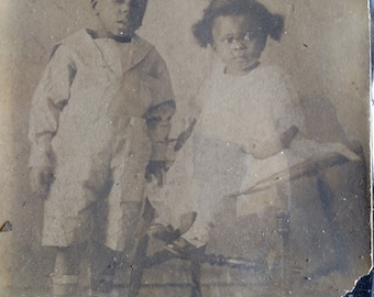 "Original Antique photo 1800's 1900's African American Boy and  Girl 6"" x 4"""