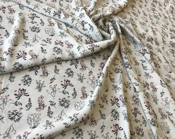 White floral viscose fabric/fabric for dress/floral fabric